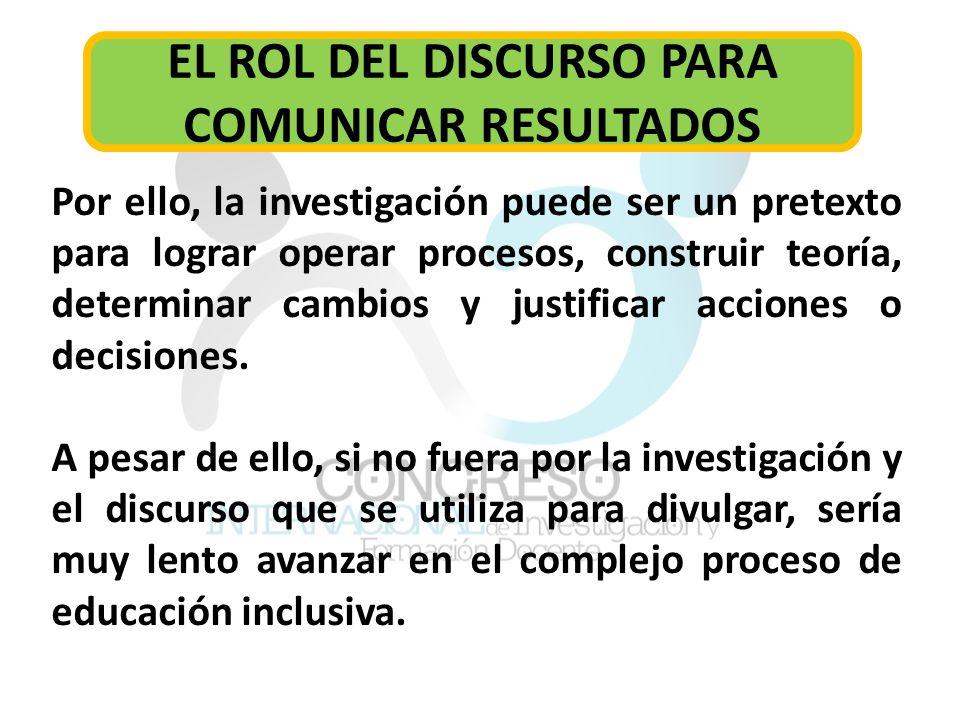 EL ROL DEL DISCURSO PARA COMUNICAR RESULTADOS