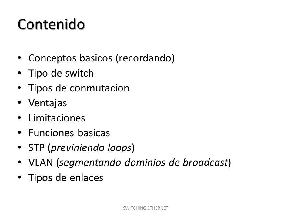 Contenido Conceptos basicos (recordando) Tipo de switch