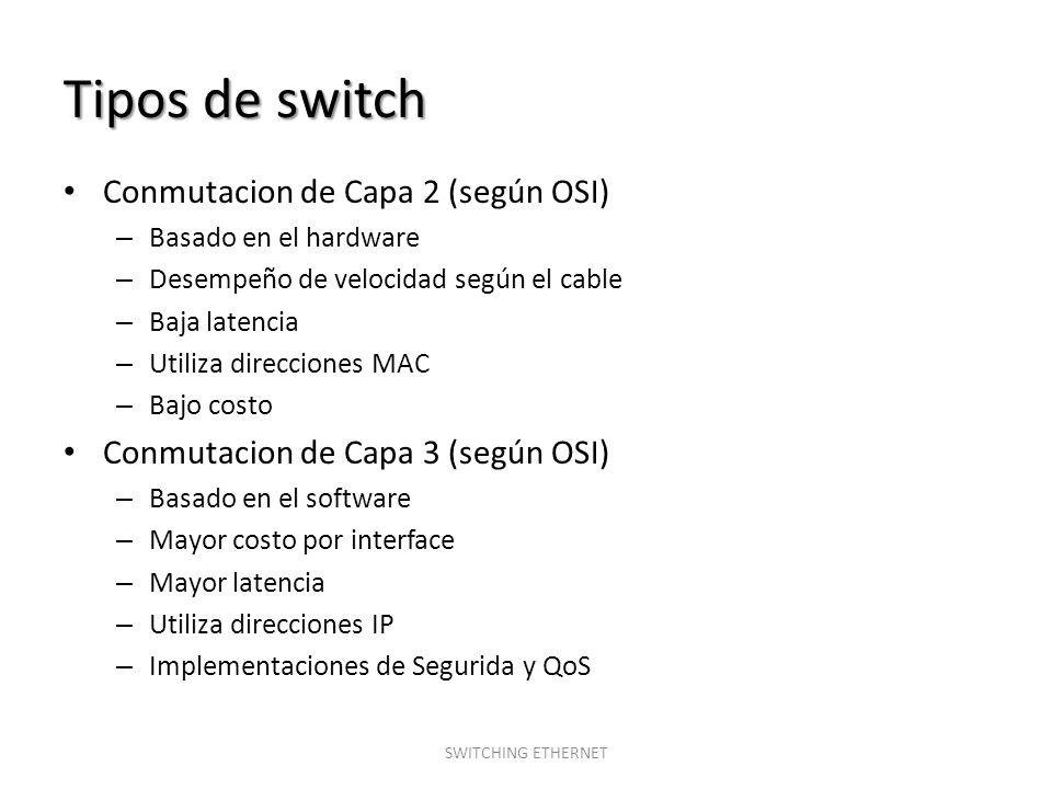 Tipos de switch Conmutacion de Capa 2 (según OSI)