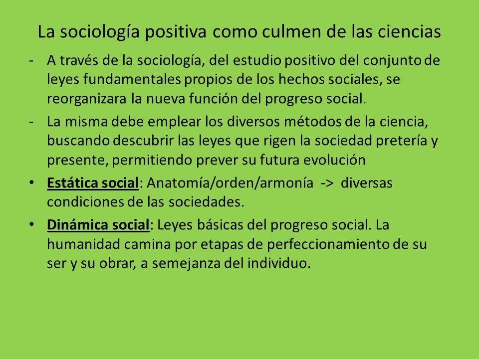 La sociología positiva como culmen de las ciencias