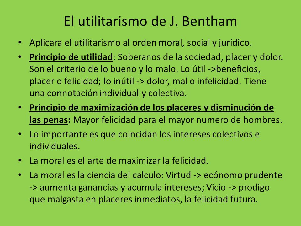 El utilitarismo de J. Bentham