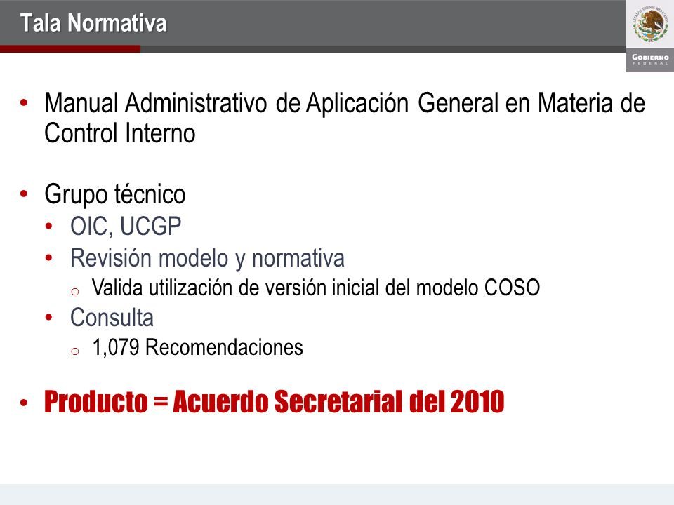 Producto = Acuerdo Secretarial del 2010