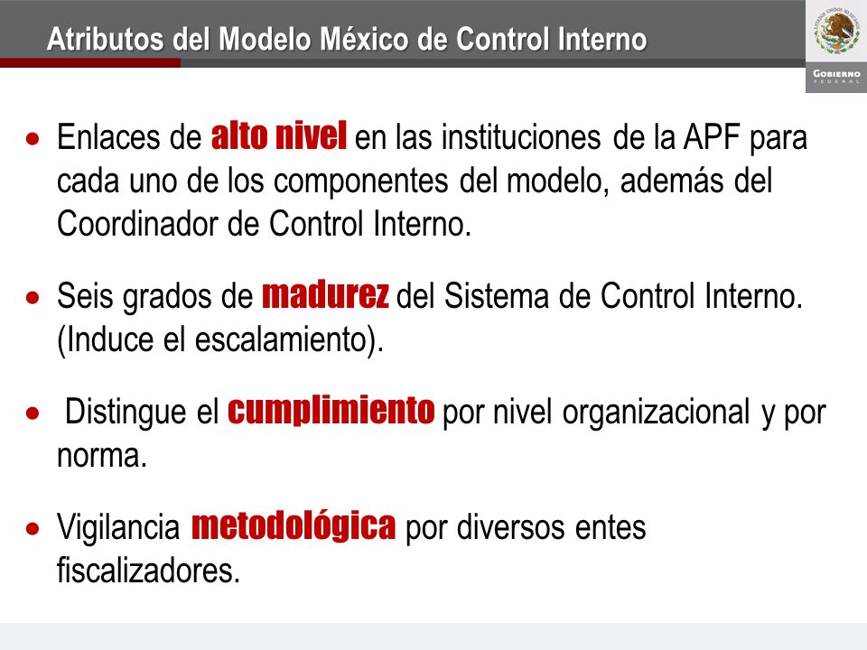 Atributos del Modelo México de Control Interno