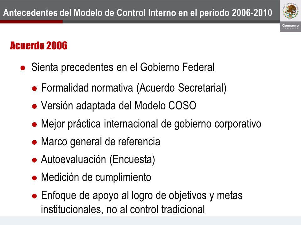 Antecedentes del Modelo de Control Interno en el periodo 2006-2010