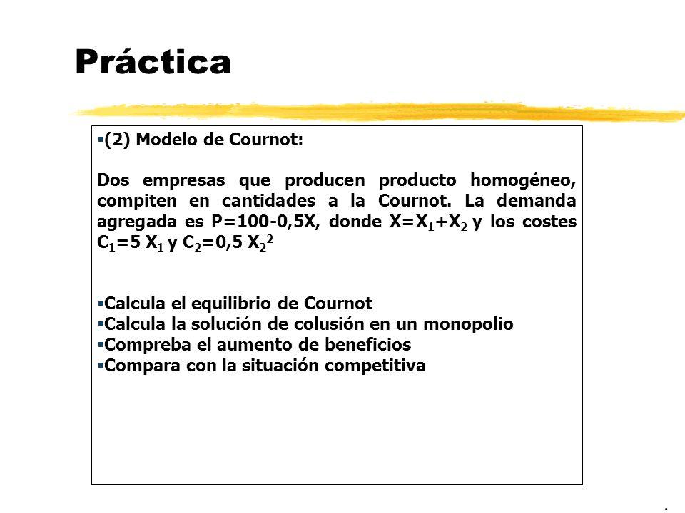 Práctica . (2) Modelo de Cournot: