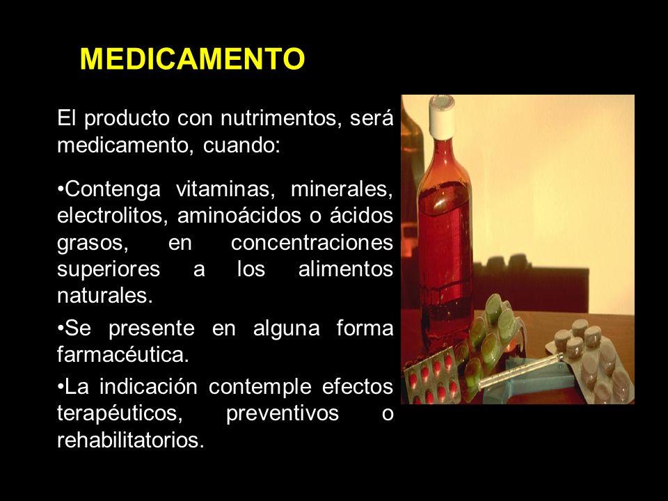 MEDICAMENTO El producto con nutrimentos, será medicamento, cuando: