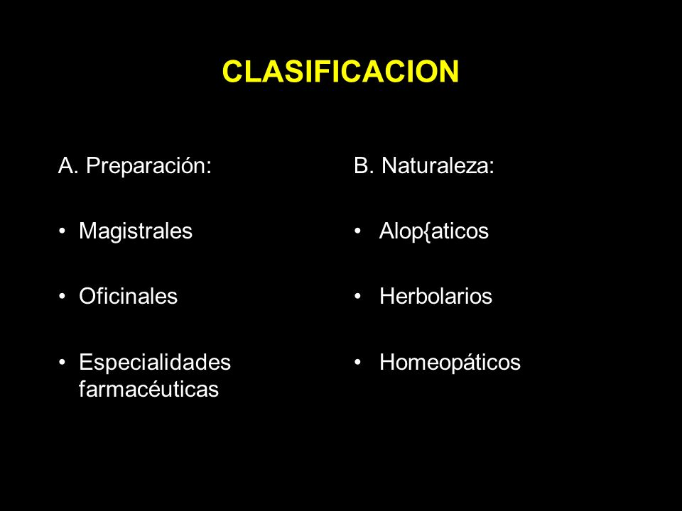 CLASIFICACION Preparación: Magistrales Oficinales