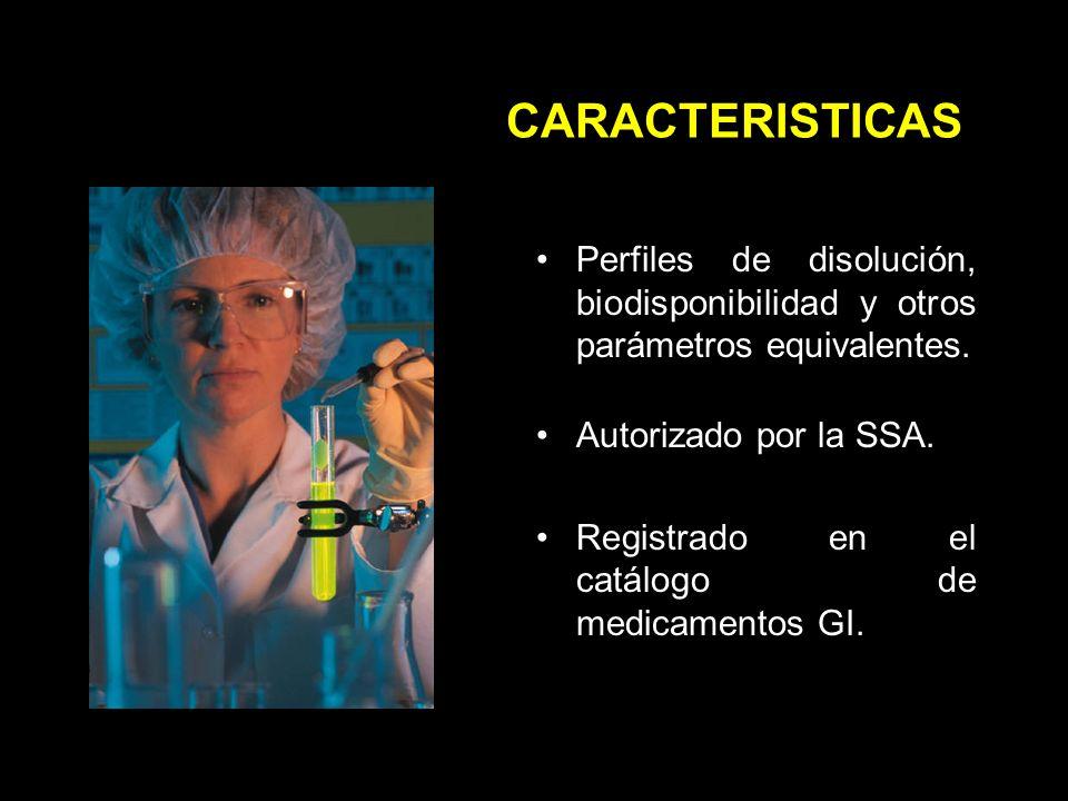 CARACTERISTICAS Perfiles de disolución, biodisponibilidad y otros parámetros equivalentes. Autorizado por la SSA.