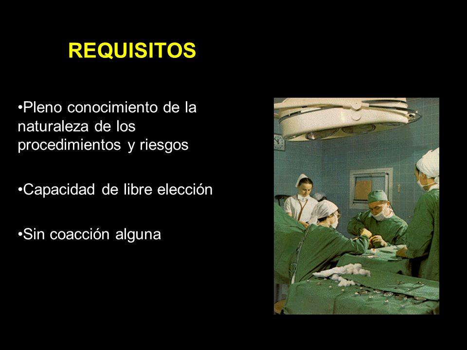REQUISITOS Pleno conocimiento de la naturaleza de los procedimientos y riesgos. Capacidad de libre elección.
