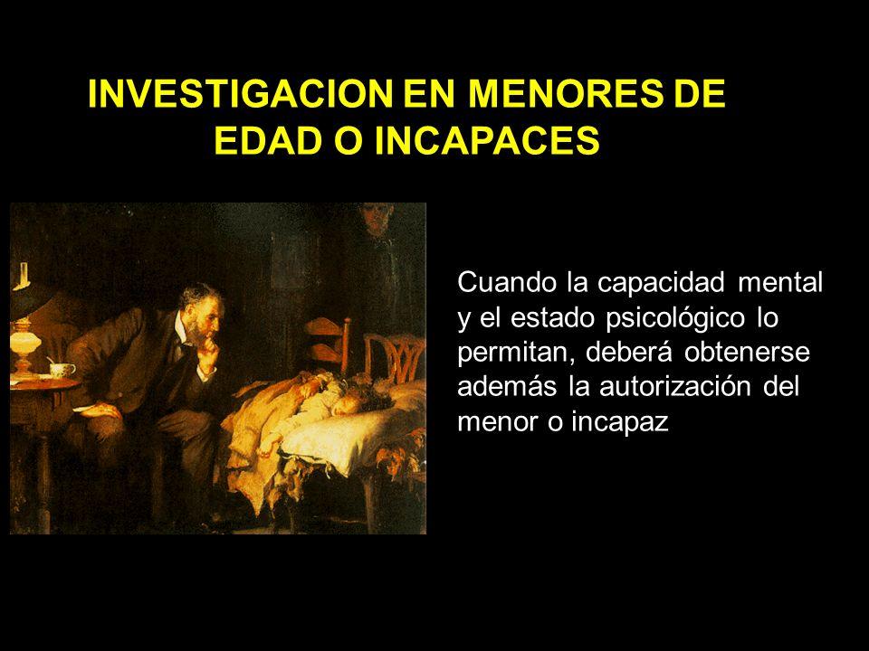 INVESTIGACION EN MENORES DE EDAD O INCAPACES