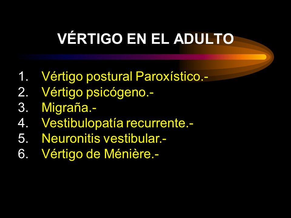 VÉRTIGO EN EL ADULTO Vértigo postural Paroxístico.-