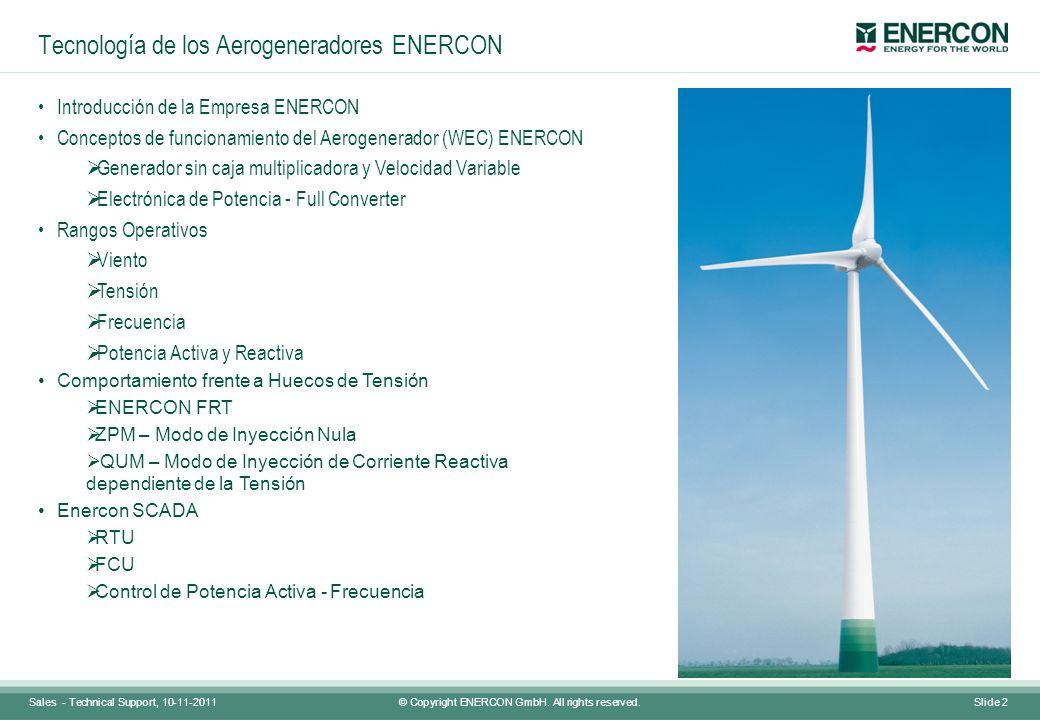Tecnología de los Aerogeneradores ENERCON