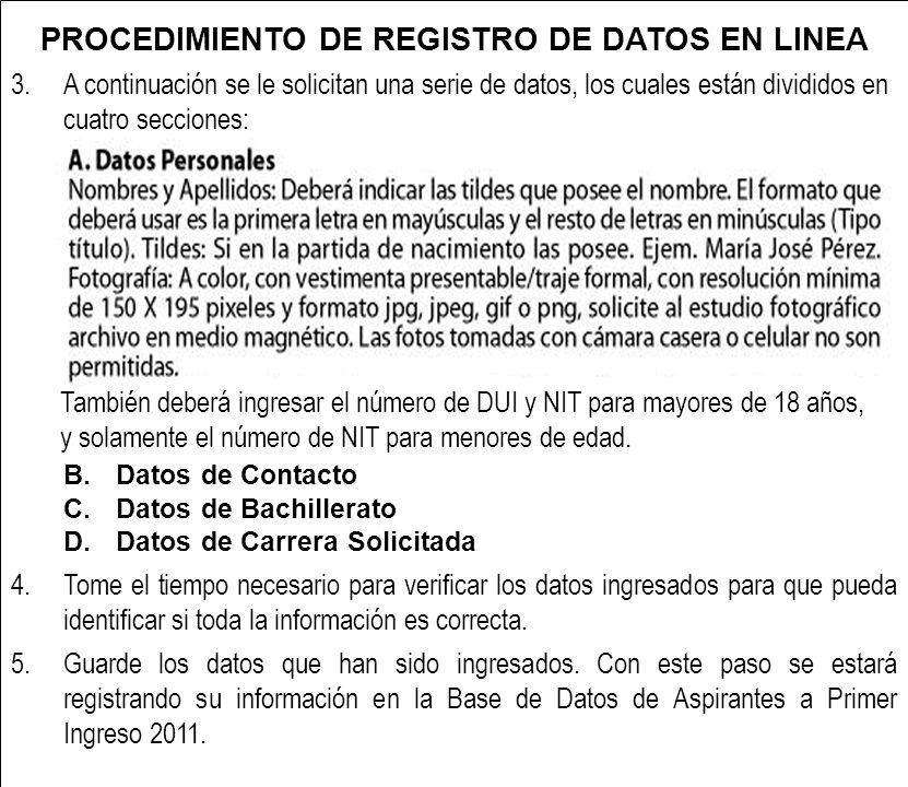 PROCEDIMIENTO DE REGISTRO DE DATOS EN LINEA