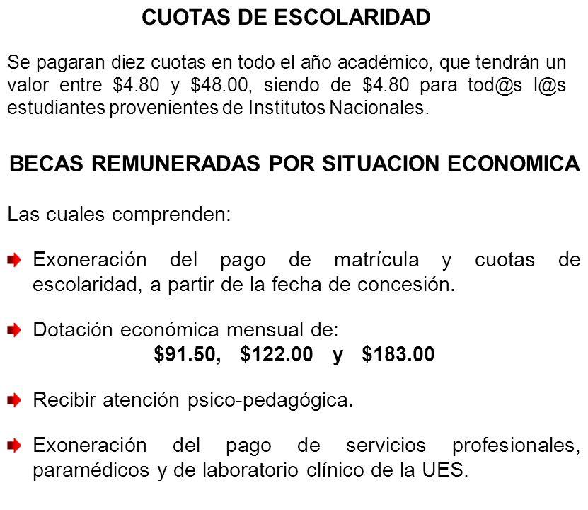 BECAS REMUNERADAS POR SITUACION ECONOMICA