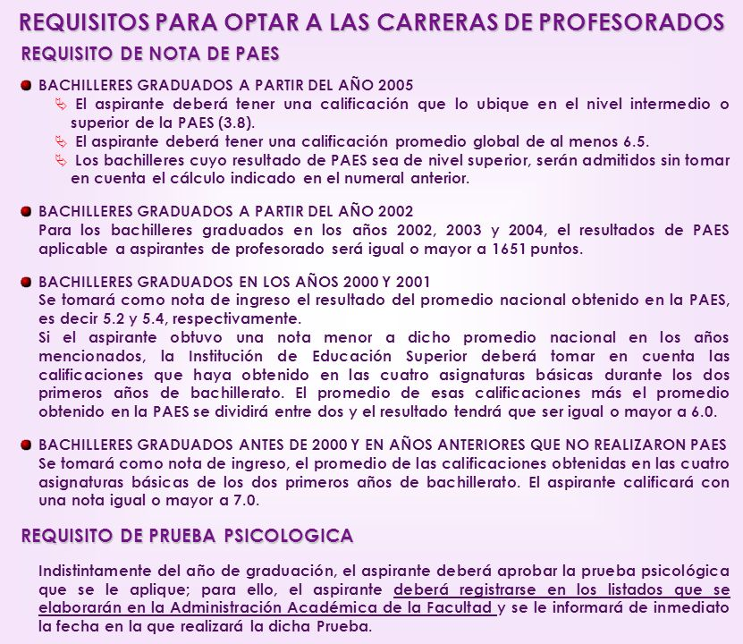 REQUISITOS PARA OPTAR A LAS CARRERAS DE PROFESORADOS