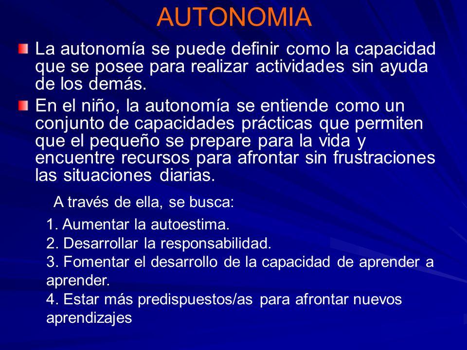 AUTONOMIA La autonomía se puede definir como la capacidad que se posee para realizar actividades sin ayuda de los demás.