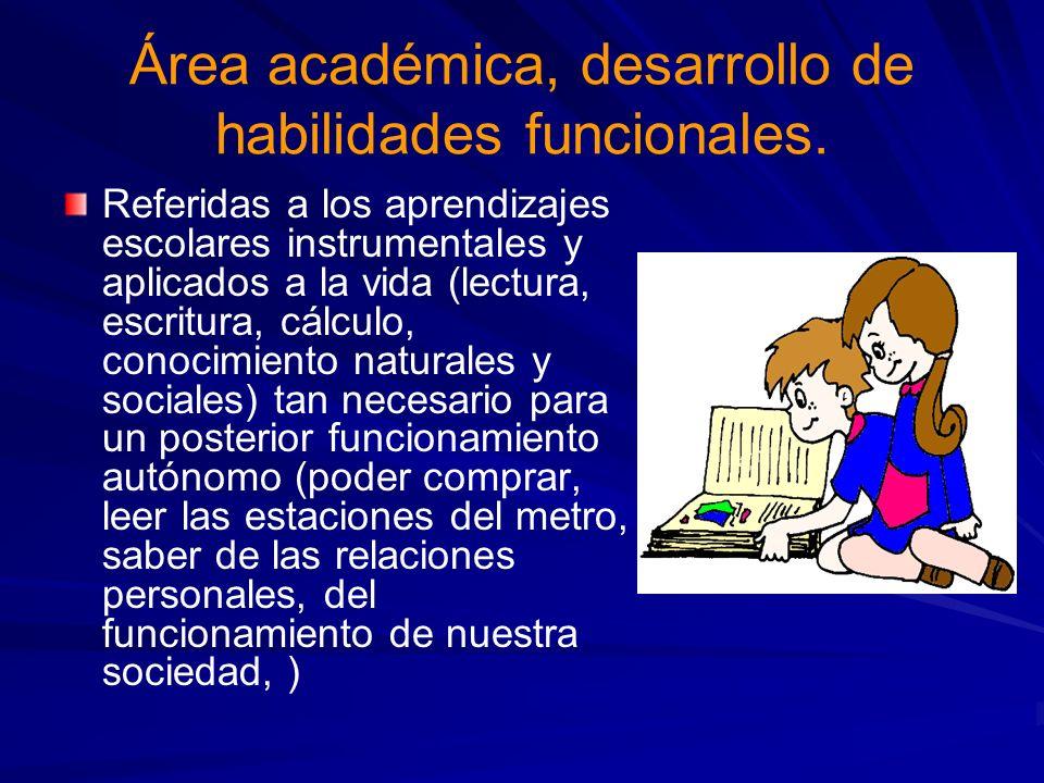 Área académica, desarrollo de habilidades funcionales.