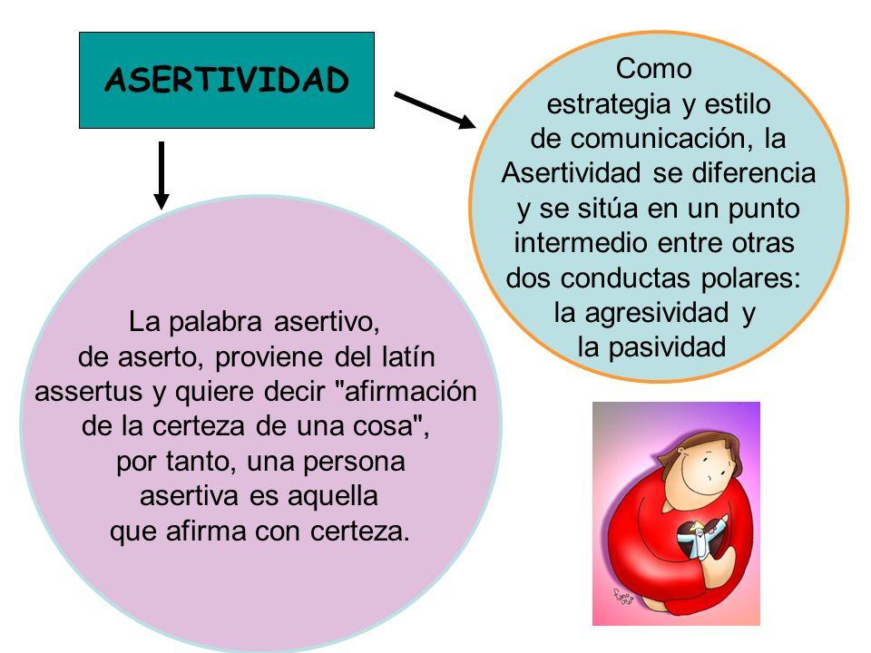 ASERTIVIDAD Como estrategia y estilo de comunicación, la