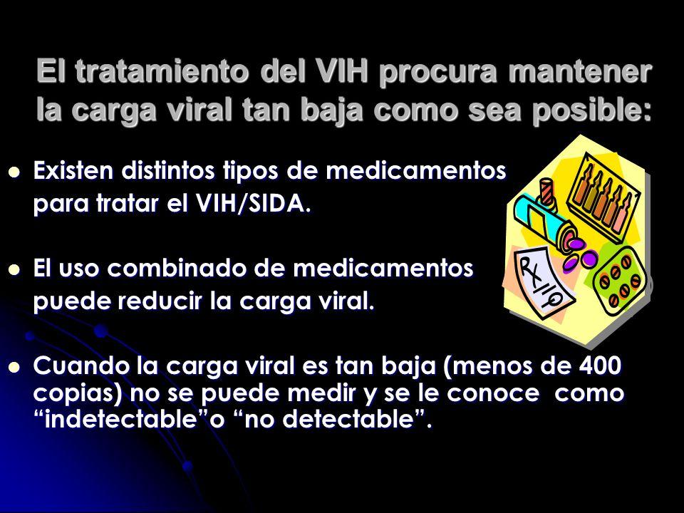 El tratamiento del VIH procura mantener la carga viral tan baja como sea posible: