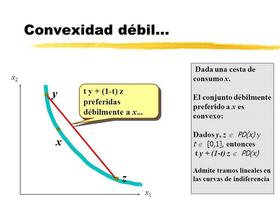 Convexidad débil... y x z t y + (1-t) z preferidas débilmente a x...