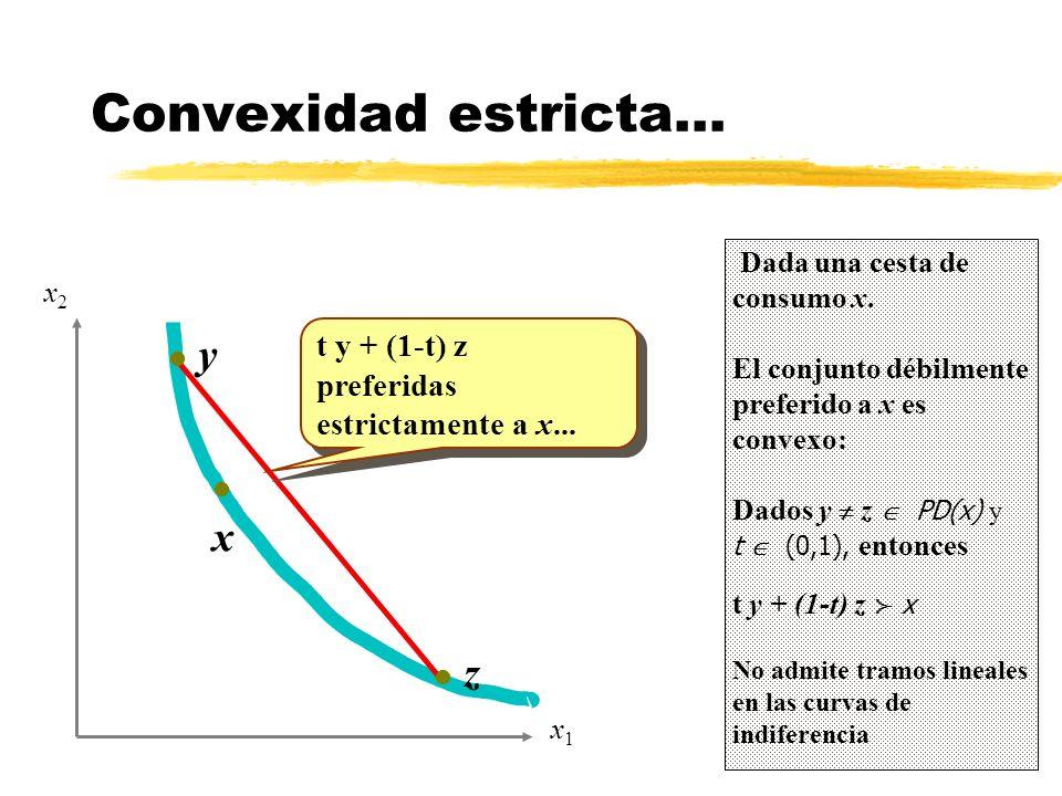 Convexidad estricta... y x z t y + (1-t) z