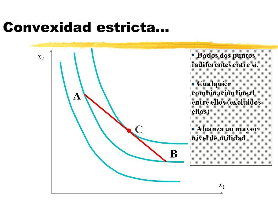 Convexidad estricta… A C B Dados dos puntos indiferentes entre sí. x2