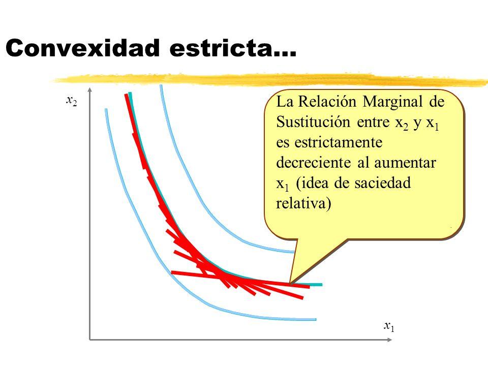 Convexidad estricta… x2. La Relación Marginal de Sustitución entre x2 y x1 es estrictamente decreciente al aumentar x1 (idea de saciedad relativa)
