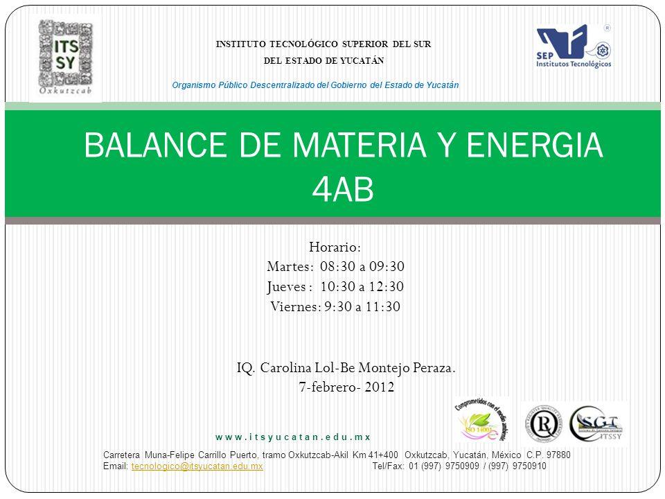 BALANCE DE MATERIA Y ENERGIA 4AB