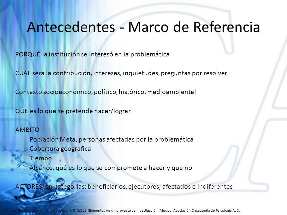 Antecedentes - Marco de Referencia