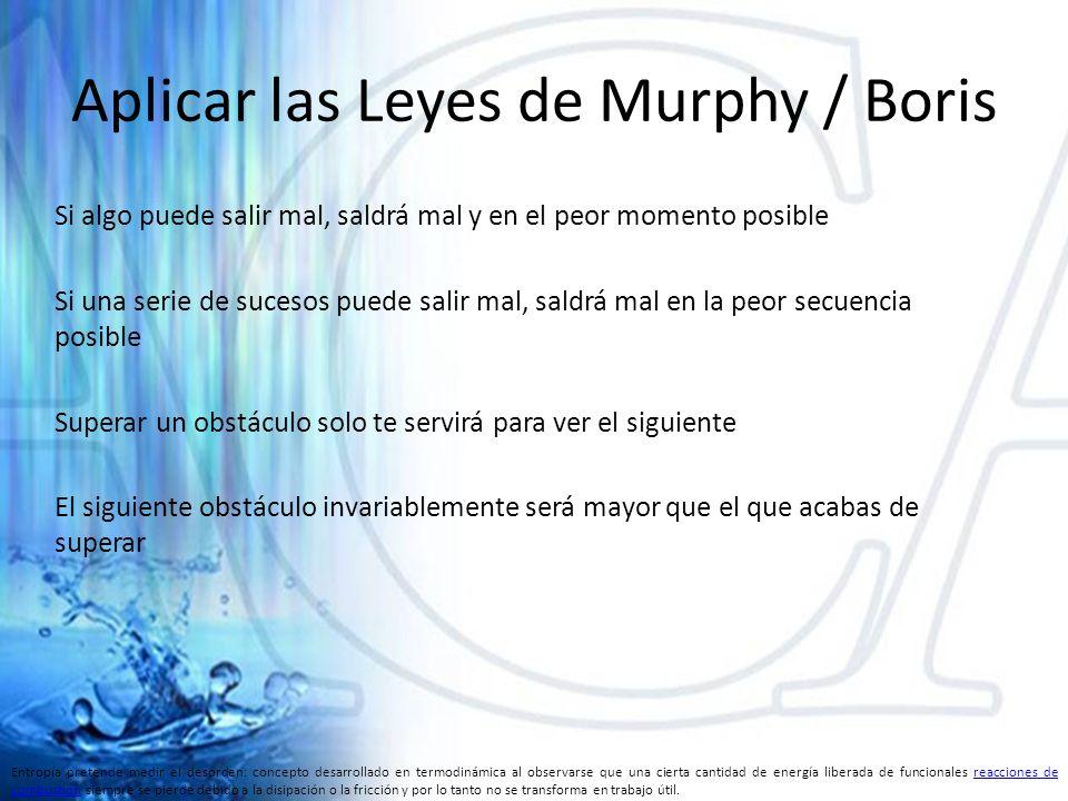 Aplicar las Leyes de Murphy / Boris