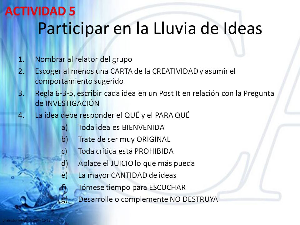 Participar en la Lluvia de Ideas