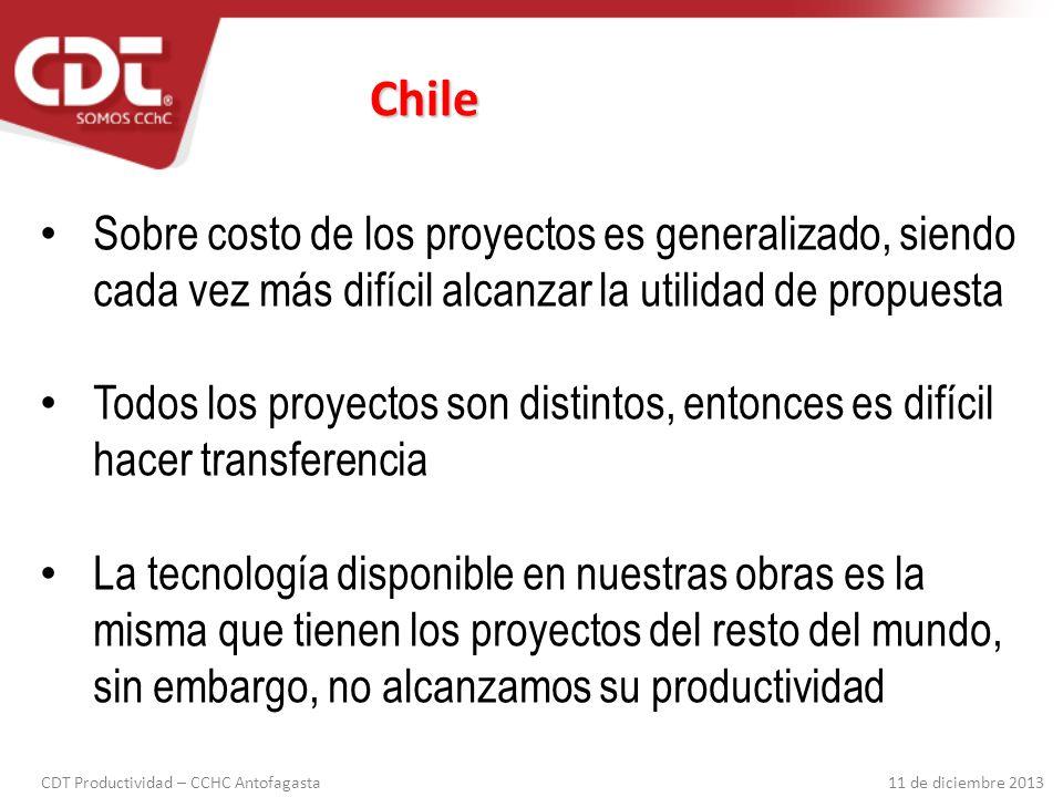 Chile Sobre costo de los proyectos es generalizado, siendo cada vez más difícil alcanzar la utilidad de propuesta.