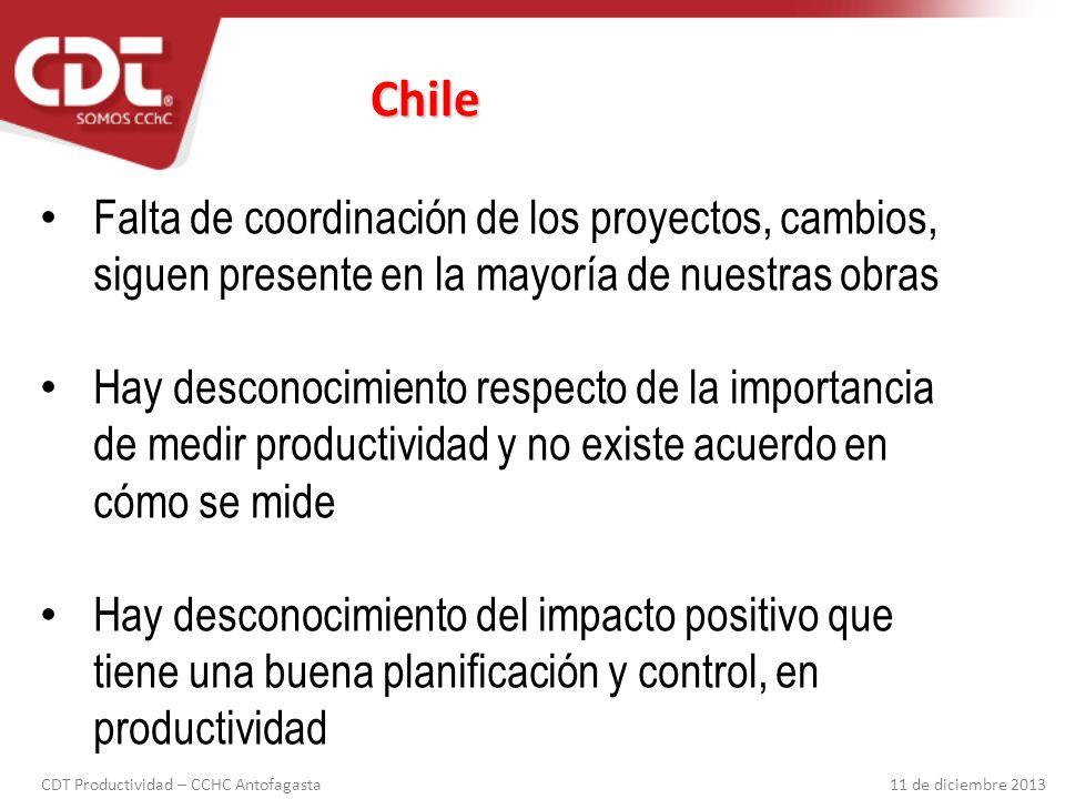 Chile Falta de coordinación de los proyectos, cambios, siguen presente en la mayoría de nuestras obras.
