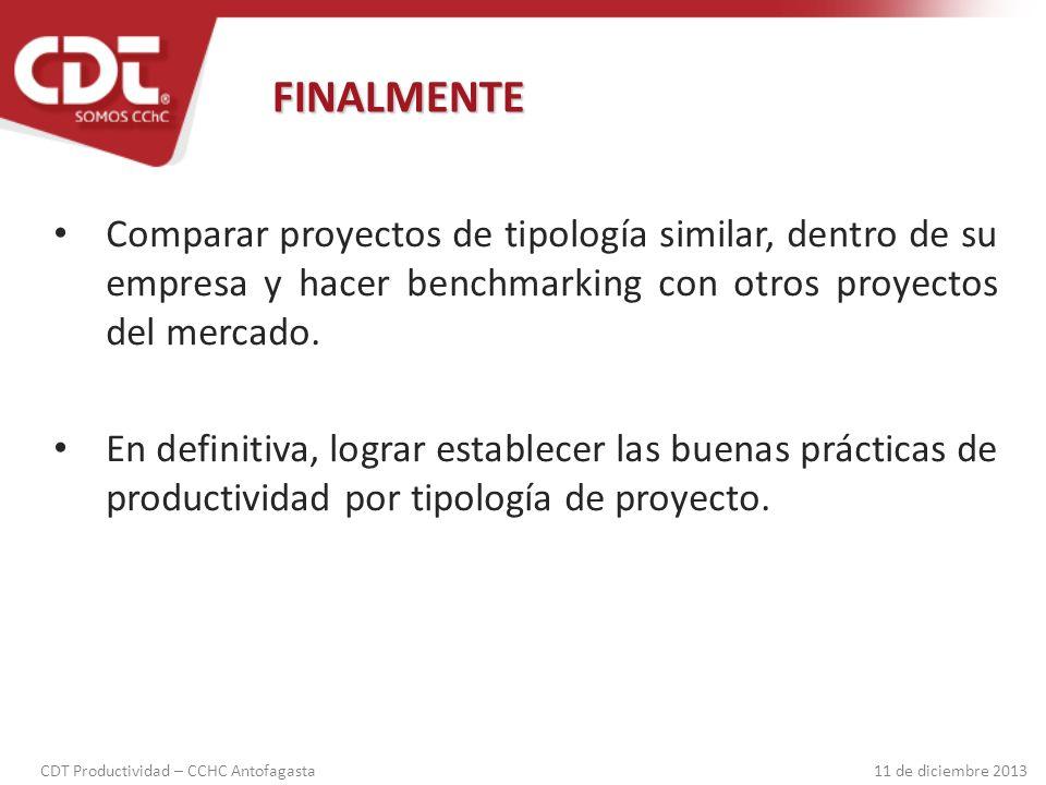 FINALMENTE Comparar proyectos de tipología similar, dentro de su empresa y hacer benchmarking con otros proyectos del mercado.