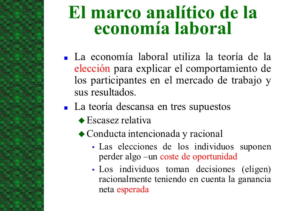 El marco analítico de la economía laboral