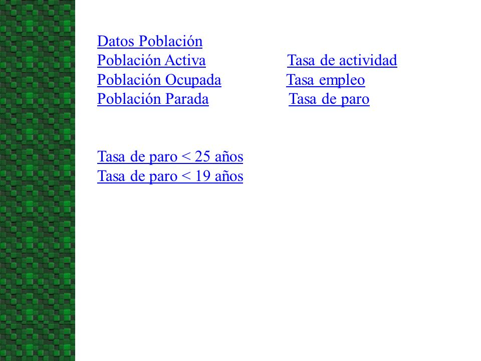 Datos Población Población Activa Tasa de actividad. Población Ocupada Tasa empleo.