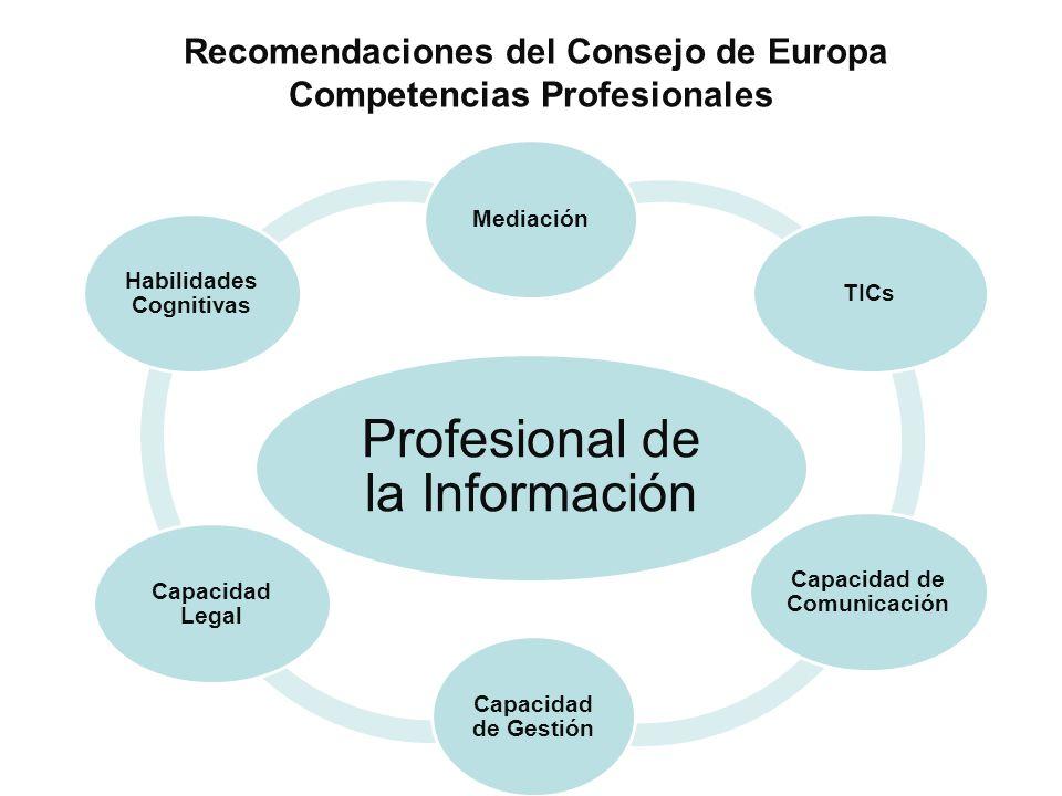 Recomendaciones del Consejo de Europa Competencias Profesionales