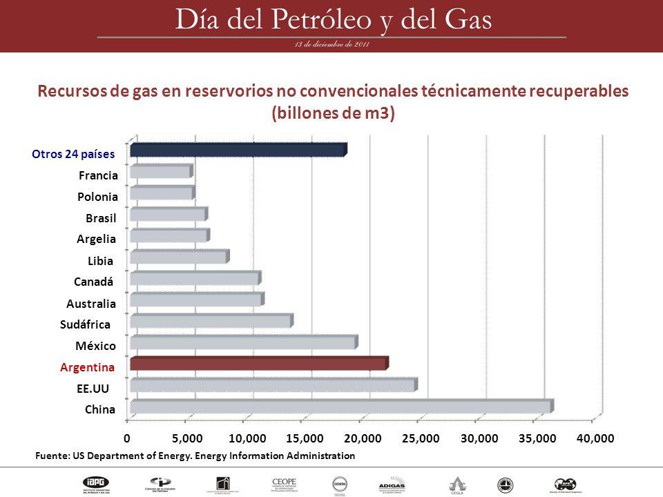 Recursos de gas en reservorios no convencionales técnicamente recuperables
