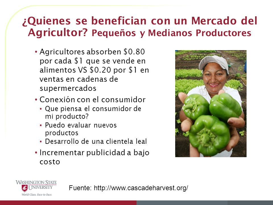 ¿Quienes se benefician con un Mercado del Agricultor
