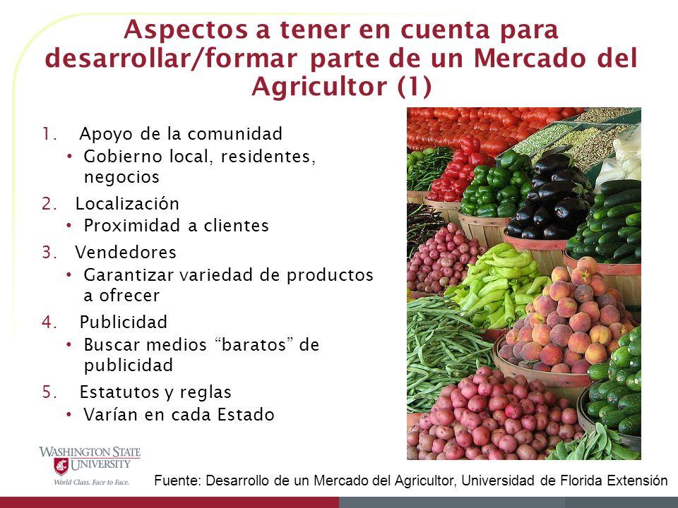Aspectos a tener en cuenta para desarrollar/formar parte de un Mercado del Agricultor (1)