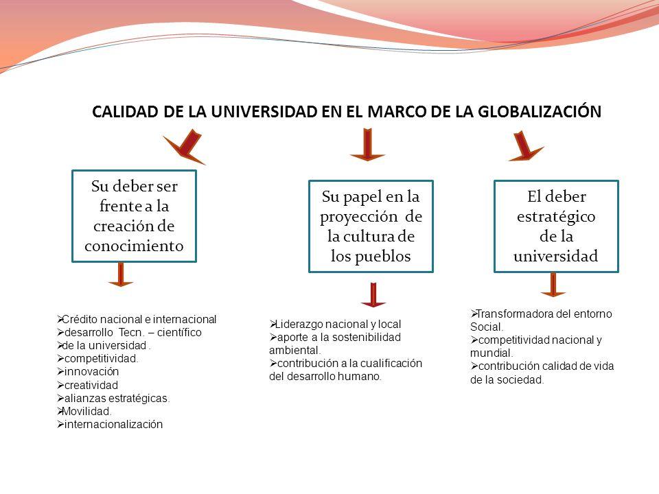 CALIDAD DE LA UNIVERSIDAD EN EL MARCO DE LA GLOBALIZACIÓN