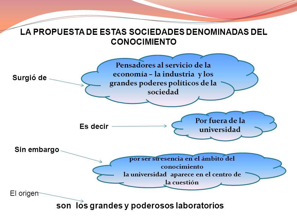LA PROPUESTA DE ESTAS SOCIEDADES DENOMINADAS DEL CONOCIMIENTO