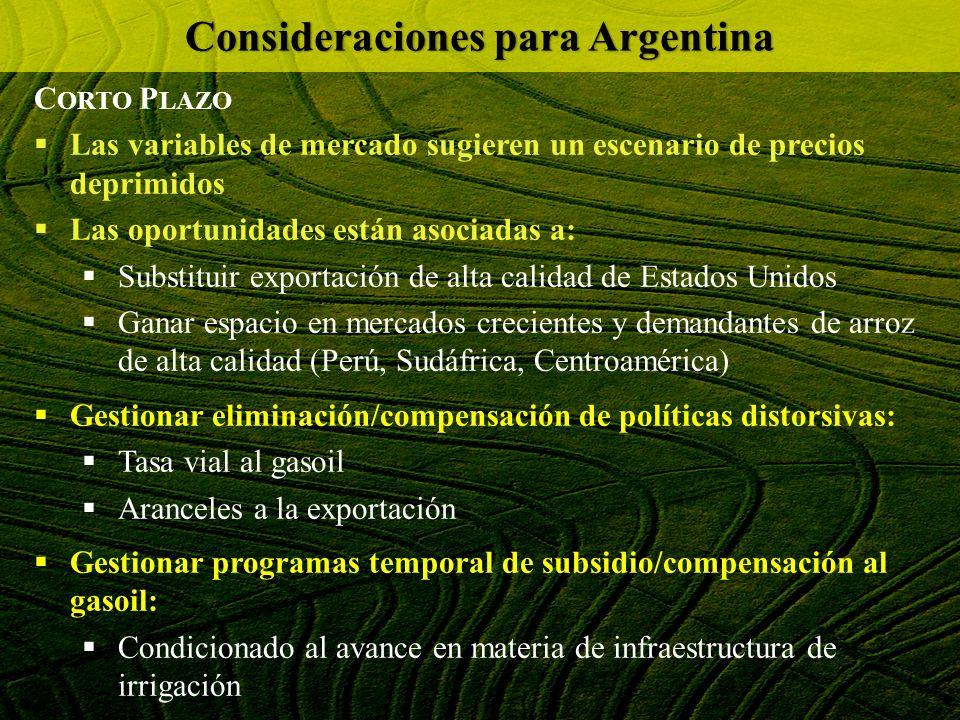 Consideraciones para Argentina