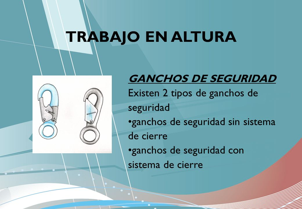 TRABAJO EN ALTURA GANCHOS DE SEGURIDAD