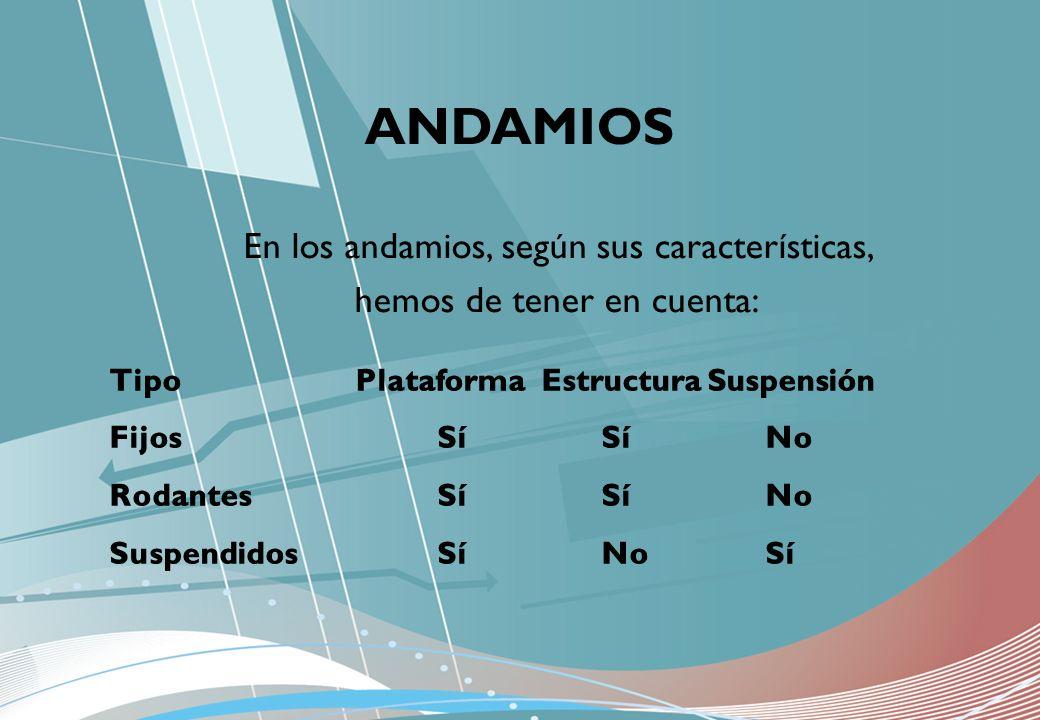En los andamios, según sus características, hemos de tener en cuenta: