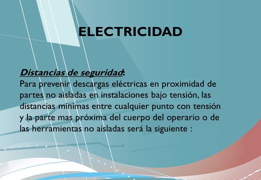 ELECTRICIDAD Distancias de seguridad: