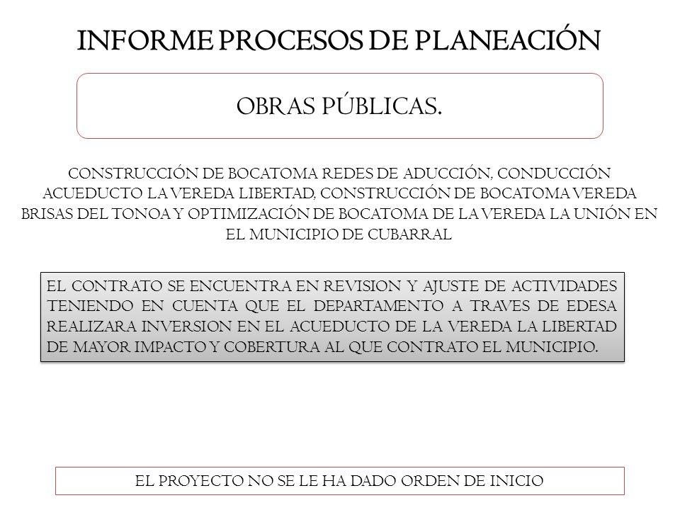 INFORME PROCESOS DE PLANEACIÓN
