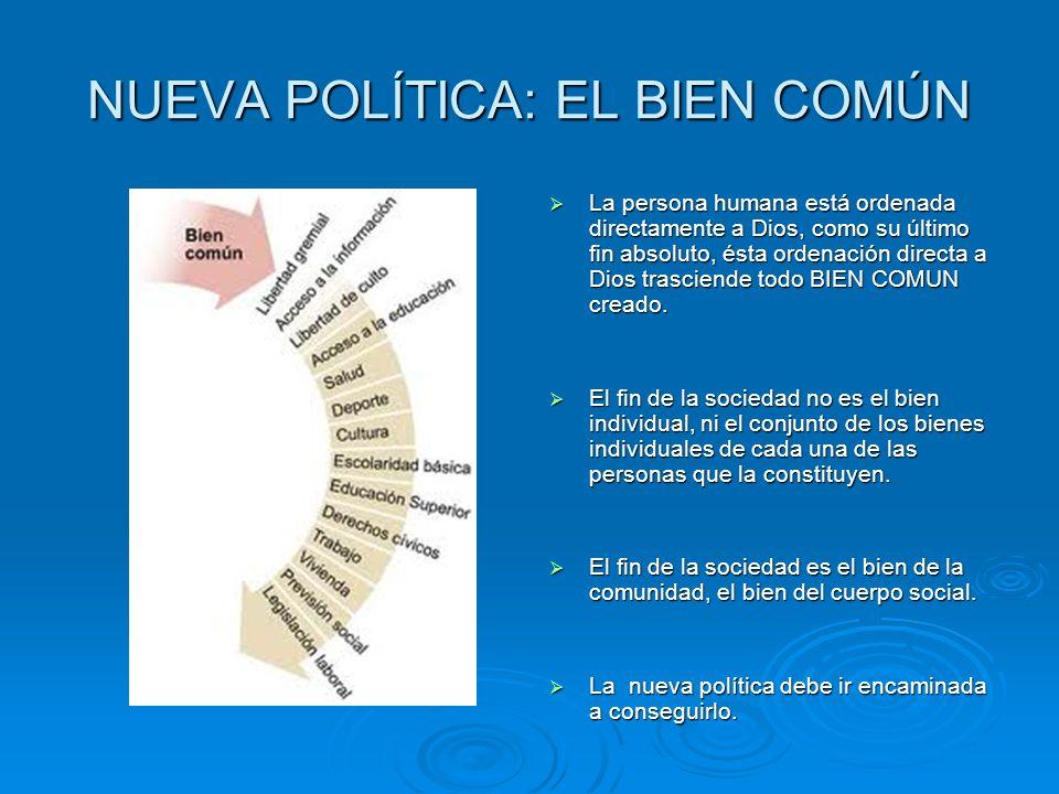 NUEVA POLÍTICA: EL BIEN COMÚN