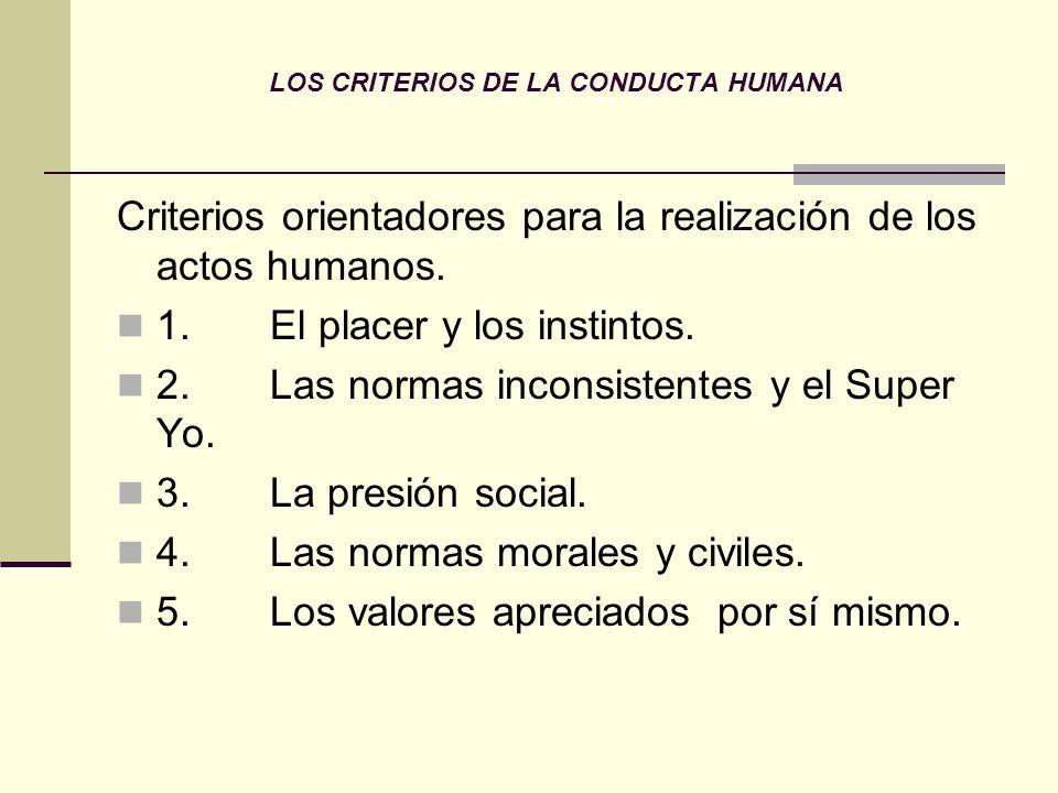 LOS CRITERIOS DE LA CONDUCTA HUMANA
