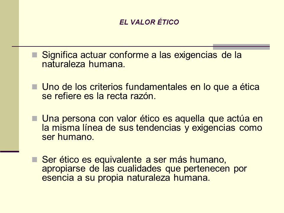 Significa actuar conforme a las exigencias de la naturaleza humana.